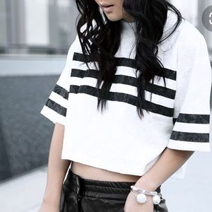 Asilio 3rd Basemen White &Black Lace Blouse Shirt